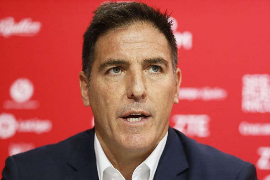Sevilla's Argentinian head coach Eduardo Berizzo speaking during a press conference for his presentation in Seville, southern Spain, on June 13, 2017.