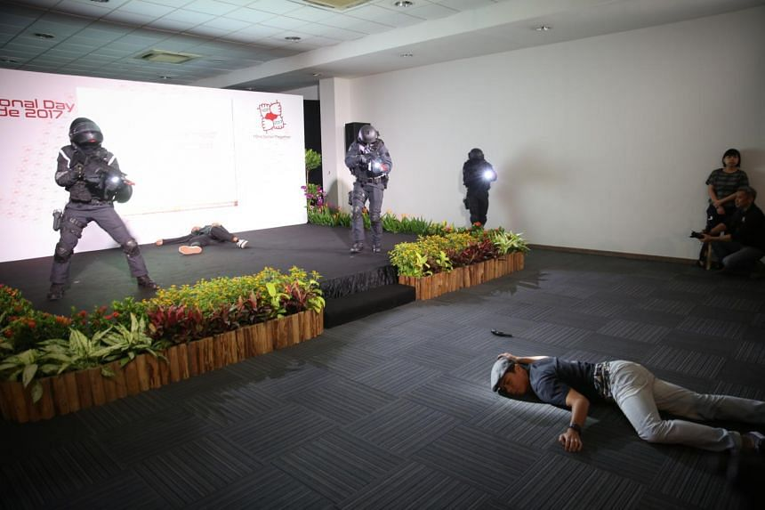 Preview of the anti-terrorism display, part of the Dynamic Defence Display. It will be the first time security forces will be firing blanks in the public seating gallery during this year's NDP.