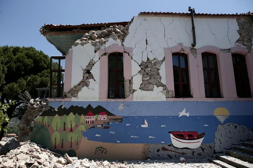 A damaged school building is seen at the village of Vrisa after an earthquake on the Greek island of Lesbos, Greece on June 13, 2017.