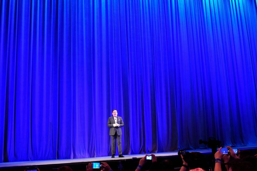Shawn Layden, Sony Interactive Entertainment America president, talking to the audience at Shine Auditorium during Sony Playstation Press conference before E3 in Los Angeles.