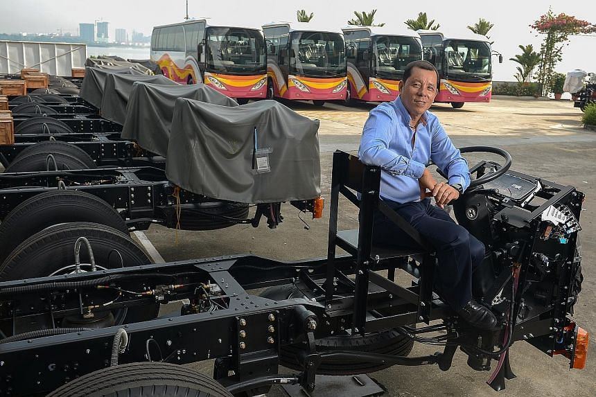 SC Auto chairman Tan Siow Chua at the firm's Senoko Road premises. The bus maker's new facility in Yangon, Myanmar, will be its first foray overseas. Myanmar's demand for public transport, its proximity, land availability and low labour costs made it