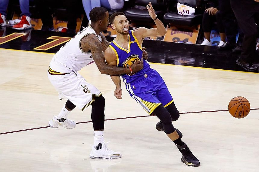 J.R. Smith of the Cleveland Cavaliers guarding Golden State Warriors' Stephen Curry in Game Four of the NBA Finals. The Cavs managed to limit Curry's impact on Saturday, and will have to do so again on the Warriors home court if they are to take the