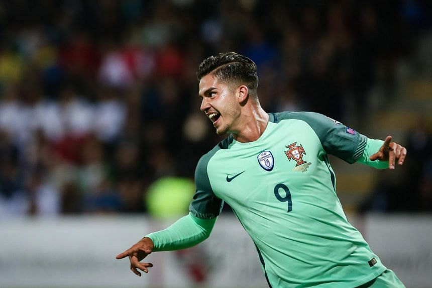 Portugal's Andre Silva celebrating after scoring a goal against Latvia during the FIFA World Cup 2018 qualifying soccer match at Skonto Stadium, in Riga, Latvia, on June 9, 2017.