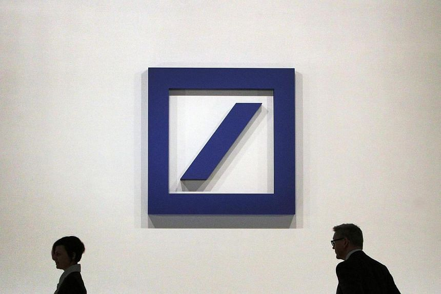 The logo of Deutsche Bank is pictured during the company's annual shareholder meeting in Frankfurt, Germany, on May 18, 2017.
