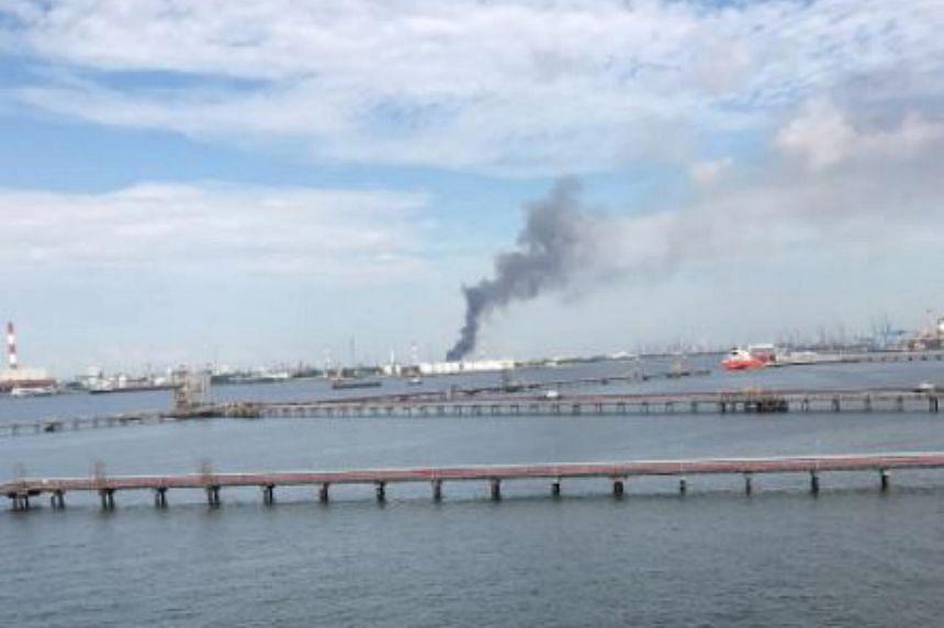 Smoke seen billowing from Jurong Island.