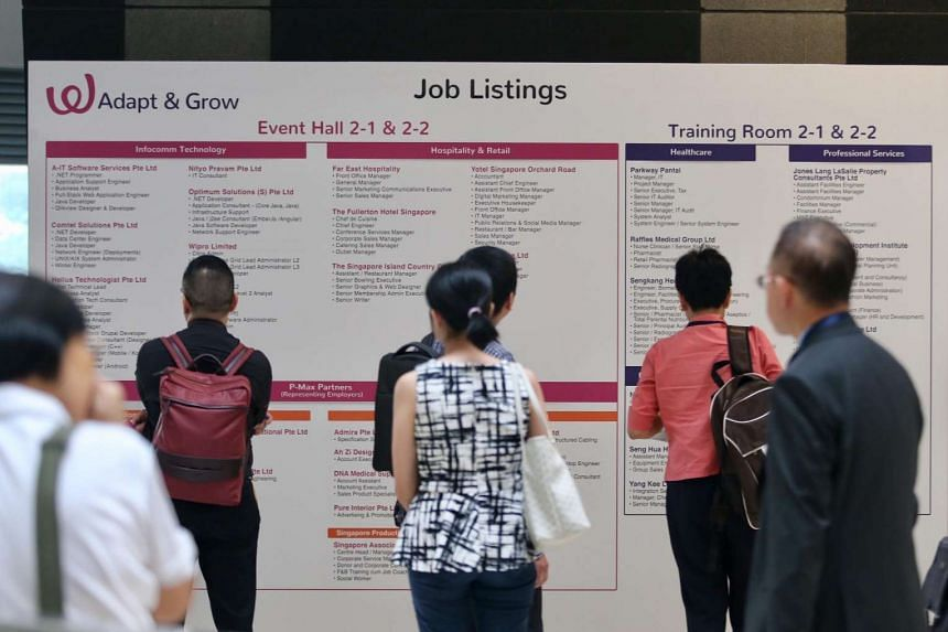 Job seekers at a job fair organised by Workforce Singapore and the Employment and Employability Institute on March 17, 2017.