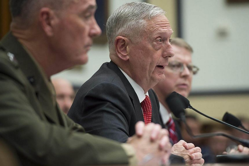 US Secretary of Defence James Mattis (centre) testify during a US House Armed Services Committee hearing on the Fiscal Year 2018 budget on Capitol Hill in Washington, DC, on June 12, 2017.