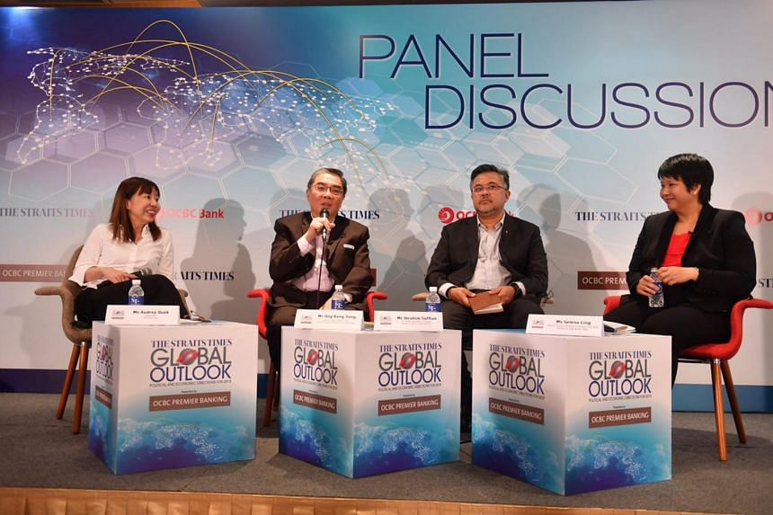 (From left) Ms Audrey Quek, Mr Ong Keng Yong, Mr Ibrahim Suffian and Ms Selena Ling at The Straits Times Global Outlook Forum panel discussion.