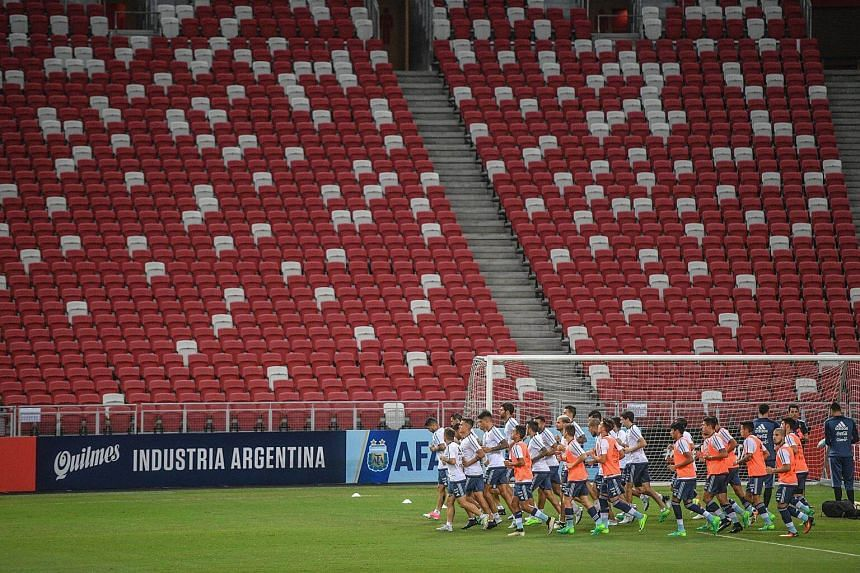 The official training session for the Argentina Football Team at the Singapore Sports Hub, on June 12, 2017.