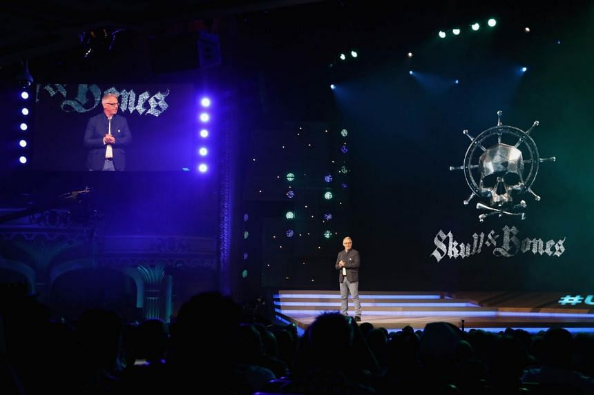 Creative director Justin Farren introducing Skull & Bones during the Ubisoft E3 conference at the Orpheum Theater in Los Angeles, California, on June 12, 2017.