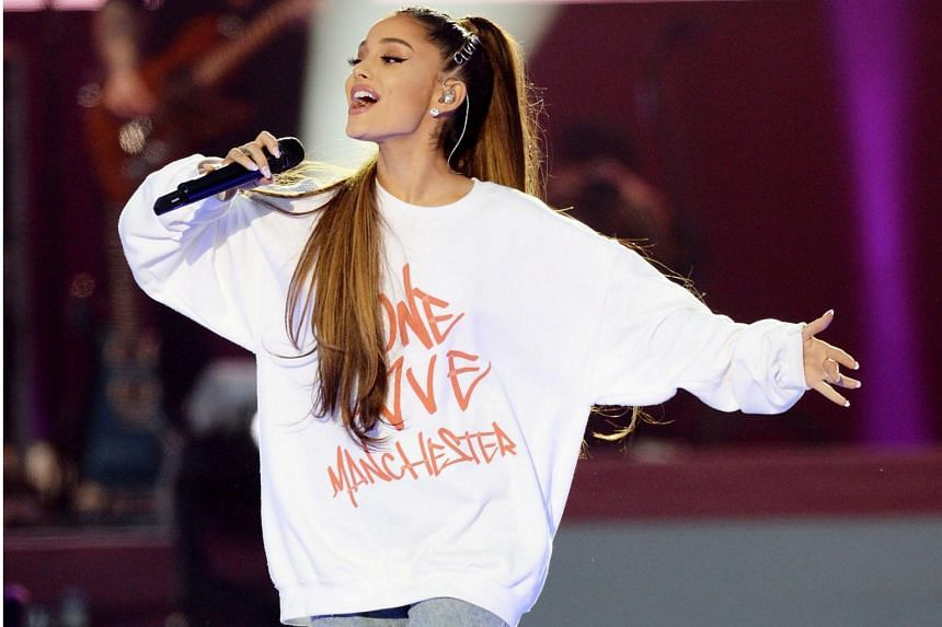 Ariana Grande performs during the One Love Manchester benefit concert for the victims of the Manchester Arena terror attack at Emirates Old Trafford, Greater Manchester, Britain on June 4, 2017.