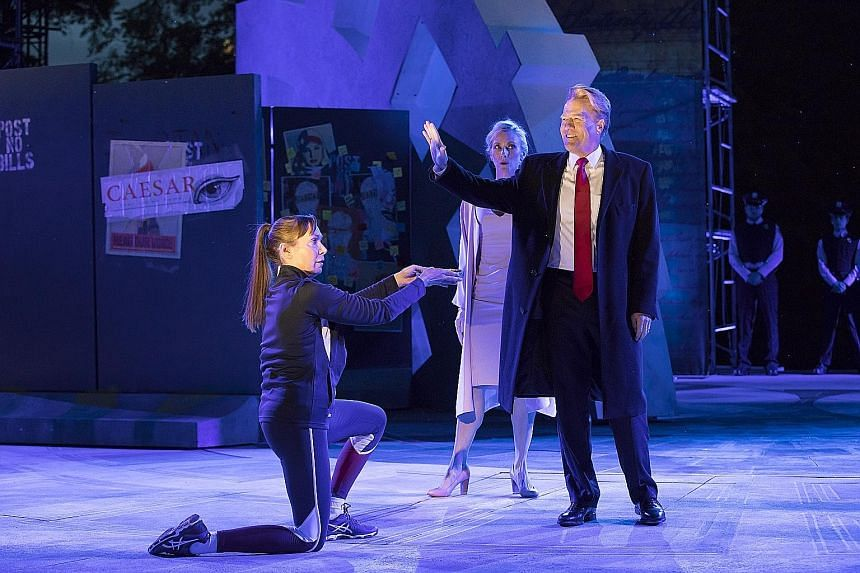 Directed by Oskar Eustis (with actor Alec Baldwin on the opening night earlier this week), Julius Caesar (above) sees the title character as a blond businessman who is styled to suggest Mr Donald Trump.