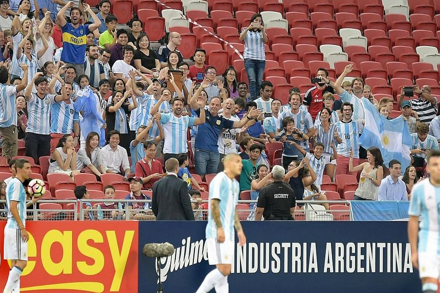 Argentina fans cheering on their side as the world No. 2 team swatted aside the 157-ranked side in a marquee friendly marking the 125th anniversary of the founding of the Football Association of Singapore.