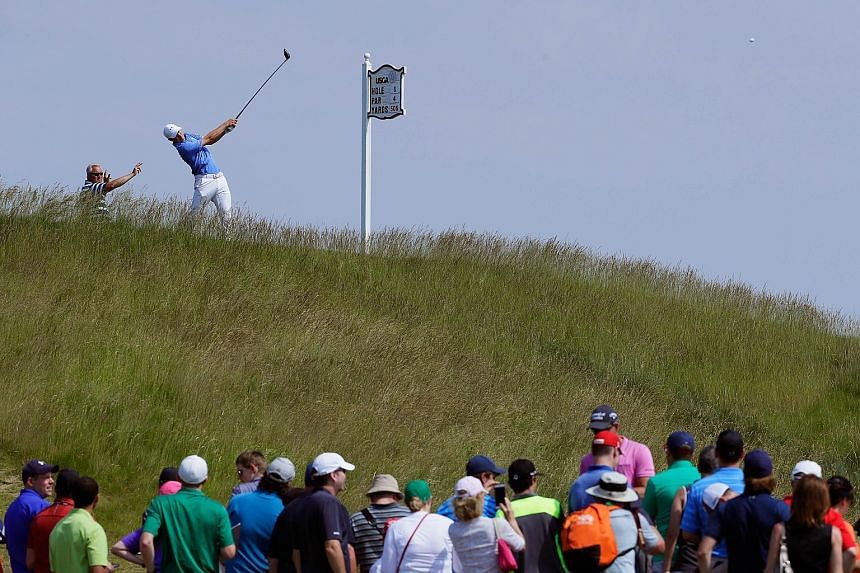 Two-time Major winner Jordan Spieth of the United States plays his shot from the fifth tee during a practice round prior to the US Open at Erin Hills in Hartford, Wisconsin. The former world No. 1 is one of the contenders in a wide-open race for the