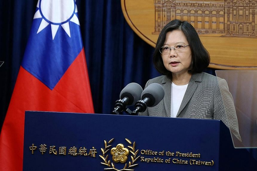 Ms Tsai Ing-wen at a Taipei news conference yesterday, where she denounced China's move in establishing diplomatic ties with Panama.