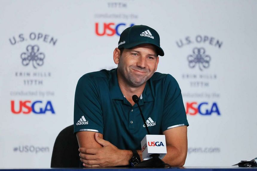 Sergio Garcia at a press conference during a practice round prior to the 2017 US Open.