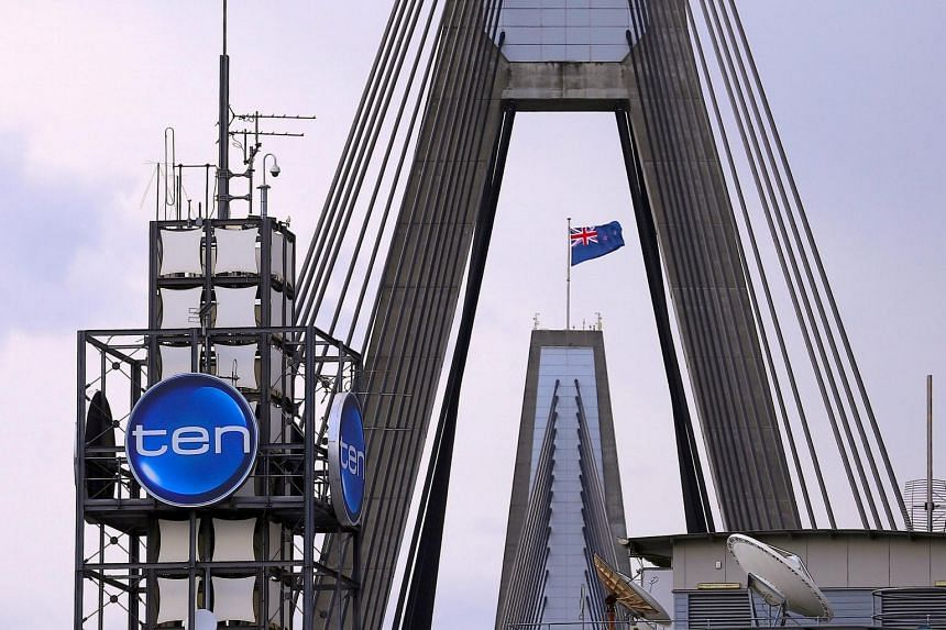 The logo of Network Ten Pty Ltd is displayed above the company's headquarters in Sydney, Australia, on April 26, 2017.