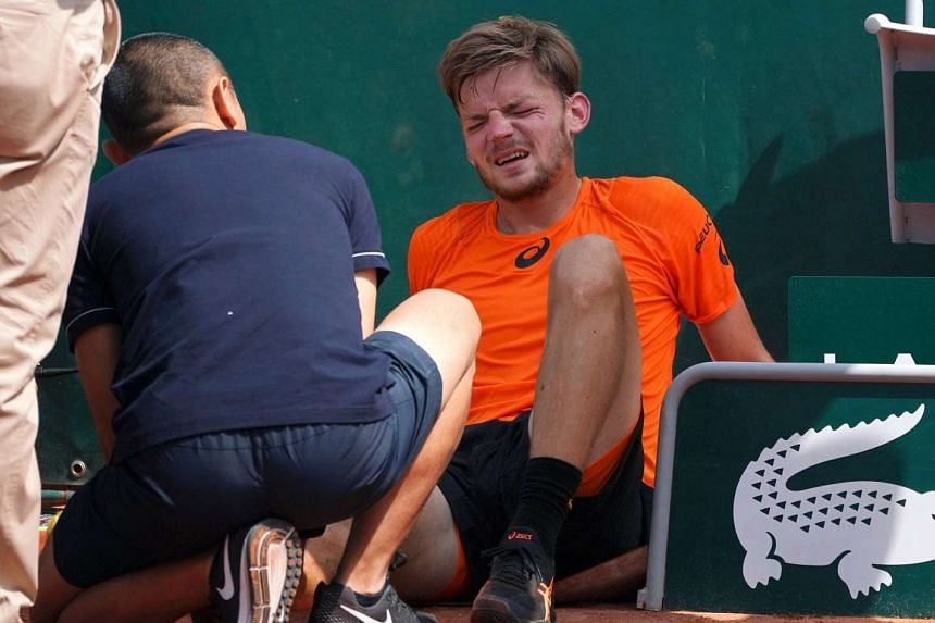 Belgium's David Goffin reacts after falling during the French Open.