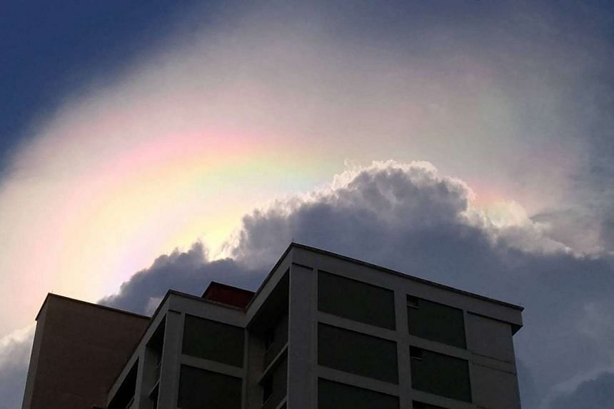 "A ""rainbow"" cloud or iridescent cloud seen in Serangoon on Thursday (June 15)."