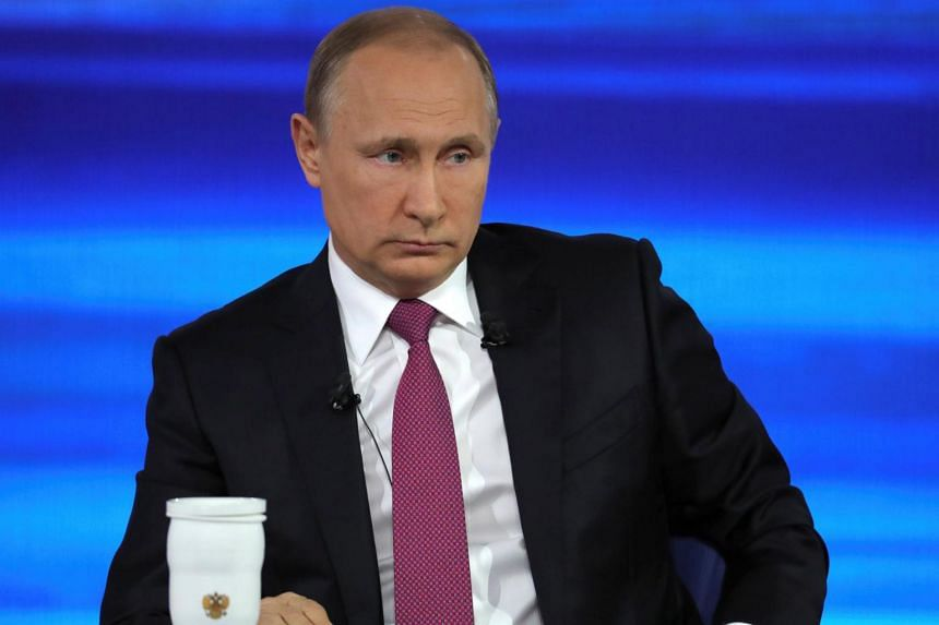 Russian President Vladimir Putin attends a live nationwide broadcasted call-in in Moscow, Russia on June 15, 2017.