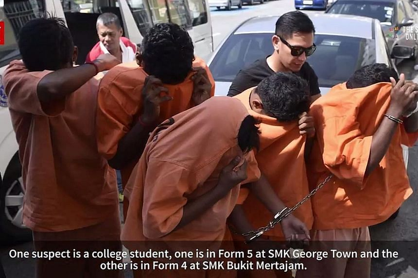 Police have detained the five youths suspected of being involved in beating, burning and sodomising 18-year-old T. Nhaveen with an object after a misunderstanding at a burger stall.