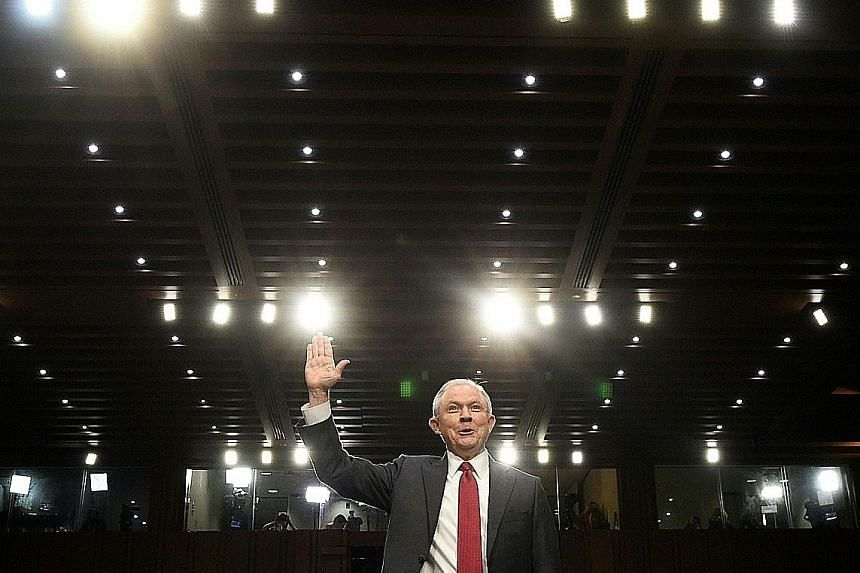 Attorney-General Jeff Sessions being sworn in before testifying during a Senate hearing in Washington on Tuesday.