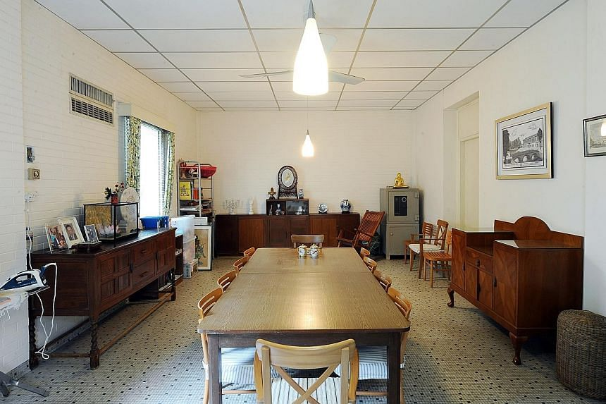 At the centre of the family dispute is the late Mr Lee Kuan Yew's house at 38, Oxley Road (above). After his death, there were public calls to turn it into a museum or memorial. The basement dining room (below) was where the People's Action Party's f