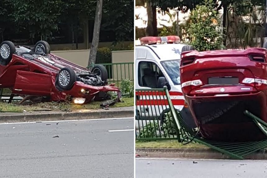 The car flipped and landed on top of a road divider in Buangkok.