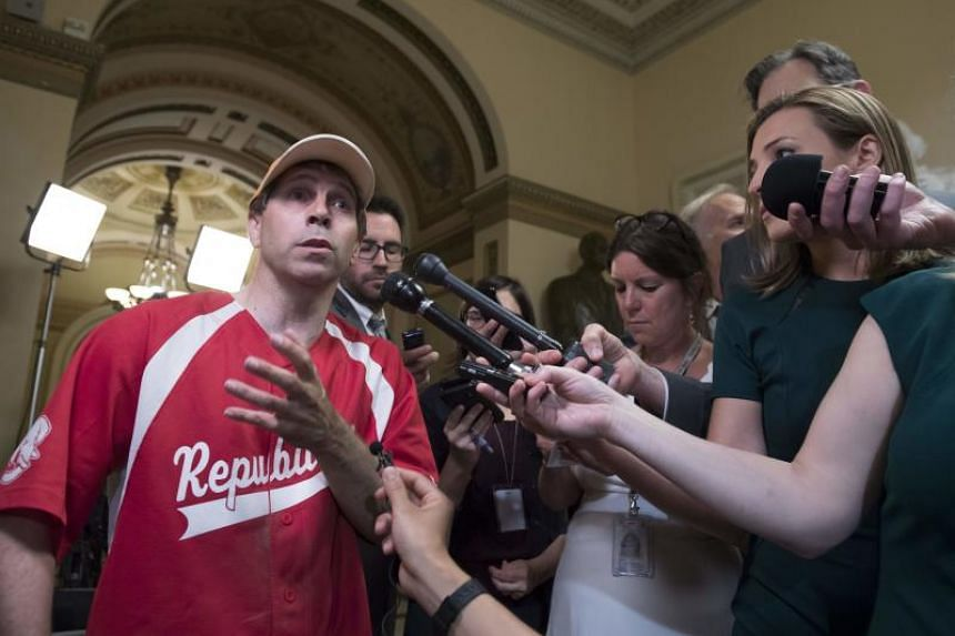 US Representative Chuck Fleischmann, Republican of Tennessee, speaking to the media about a shooting incident during a Congressional baseball practice in Virginia.