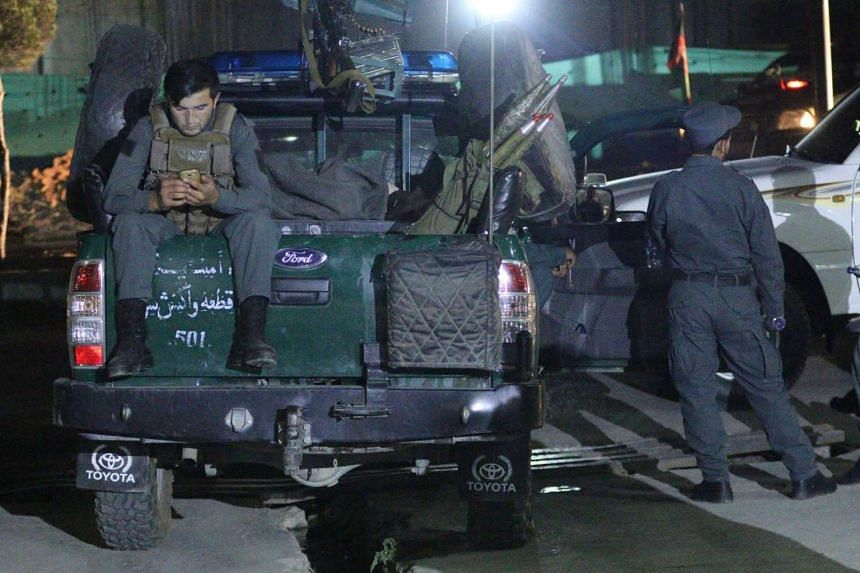 Afghan Police secure the scene.