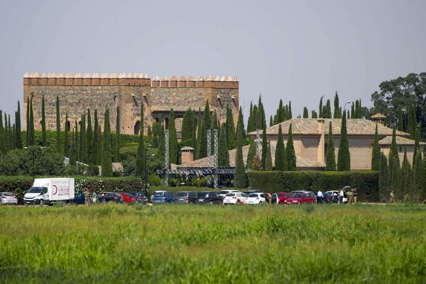 Exterior view of Palacio de Galiana where Atletico Madrid's French forward Antoine Griezmann married Erika Choperena in Toledo, central Spain, on June 15, 2017.