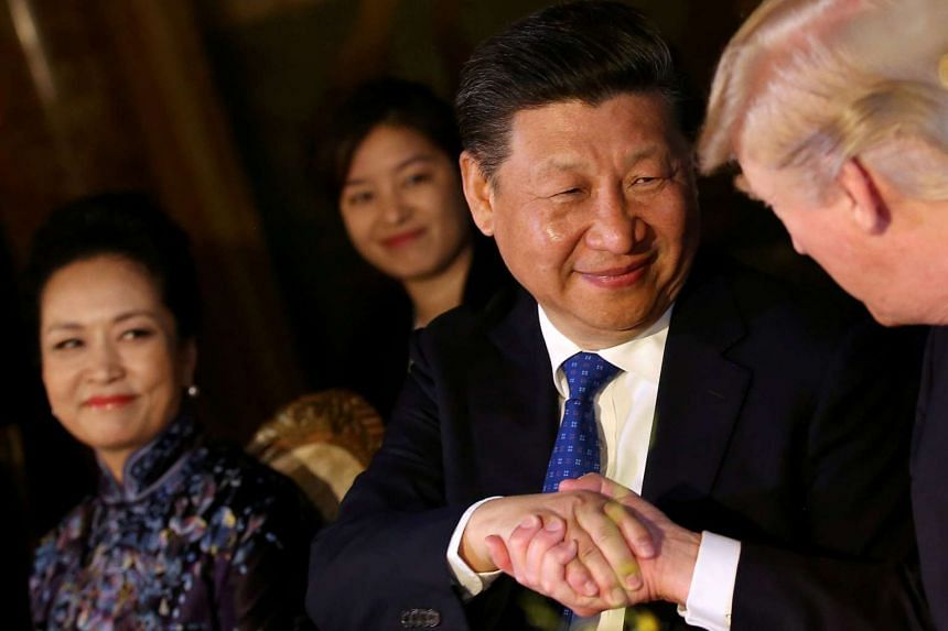 Chinese President Xi Jinping visiting US President Donald Trump in April 2017.