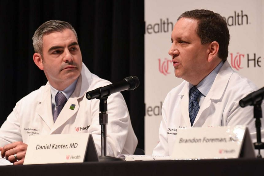 Dr Daniel Kanter (right) speaks about the condition and treatment of Otto Warmbier.