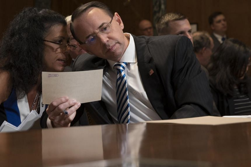 Deputy Attorney General Rod Rosenstein testifies before a Senate Appropriations subcommittee, on Capitol Hill in Washington on June 13, 2017.