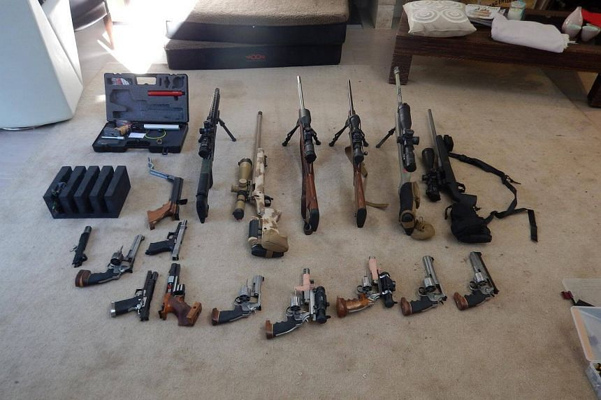Seized firearms at a property in Queensland, Australia.