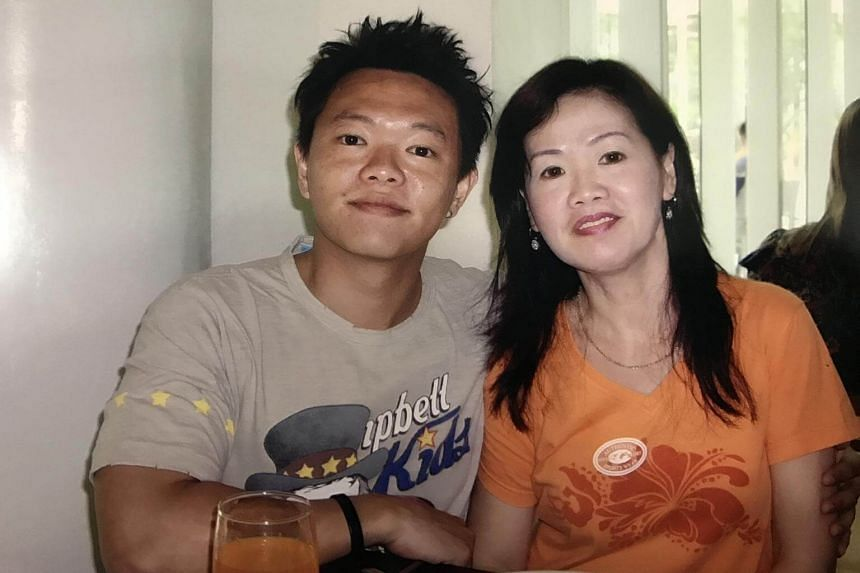 Mr Koh with his mother Eileen Tan.