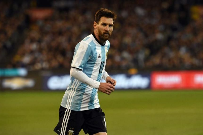 Argentina's Lionel Messi runs during the friendly international football match between Brazil and Argentina at the MCG in Melbourne on June 9, 2017.