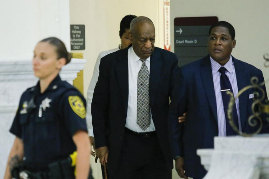 Bill Cosby walks to the courtroom on the fourth day of jury deliberations of his sexual assault trial at the Montgomery County Courthouse on June 15, 2017