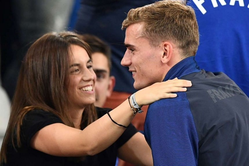 France forward Antoine Griezmann hugging his then-girlfriend Erika Choperena as he celebrated the team's win over Germany in the Euro 2016 semi-final at the Stade Velodrome on July 8, 2016.