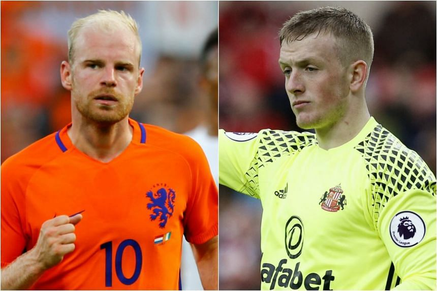 Everton will look to improve on last season's performance, which saw them placed seventh in the Premier League, with the duo signing of midfielder Davy Klaassen (left) and goalkeeper Jordon Pickford.