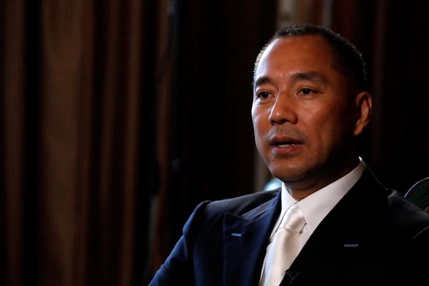 Billionaire businessman Guo Wengui speaks during an interview in New York City on April 30, 2017.