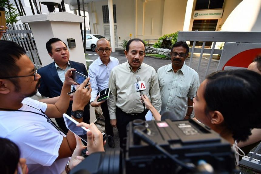 (From left) Jimmie Wee, Rahman Kamin, Borhan Saini and Sukumaran turned up on the mystery candidate's behalf on June 16, 2017..