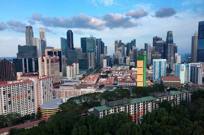 The Singapore skyline.
