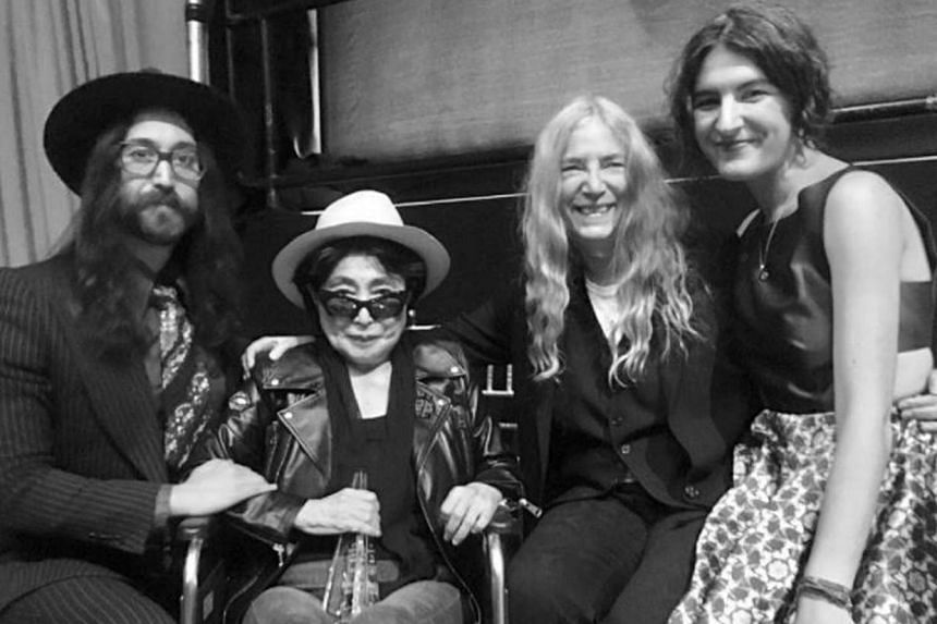 (From left) Sean Lennon, Yoko Ono, Patti Smith and her daughter Jessie at the ceremony.