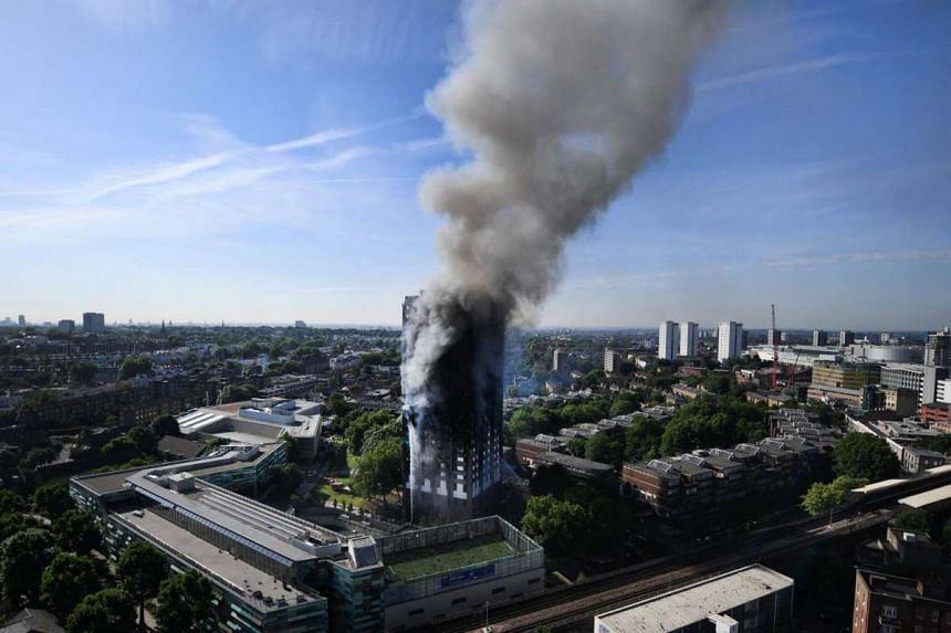 A general view of the Grenfell Tower apartment block fire in North Kensington, London, Britain on June 14, 2017.