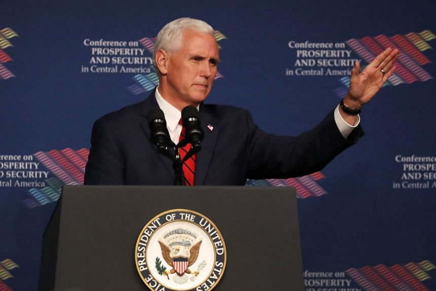 Vice President Mike Pence speaks during the Conference on Prosperity and Security in Central America.