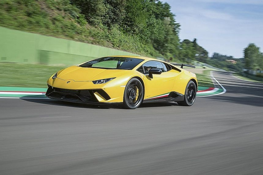 The Lamborghini Huracan Performante 5.2 can lap the 20.8km Nurburgring circuit in Germany in under seven minutes.