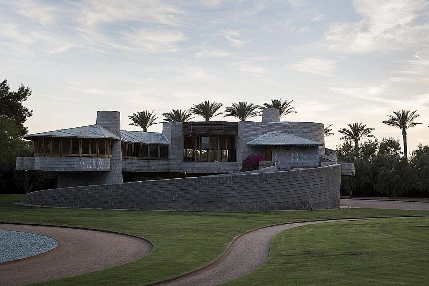 A house (above) that iconic American architect Frank Lloyd Wright designed for his son David in Phoenix, Arizona, was at risk of being bought over by developers who might demolish it and build new homes on the site. Mr Zach Rawling, a millionaire bui