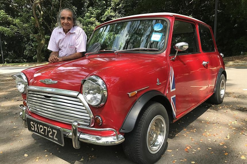 Mr Gummer Singh used stainless-steel bowls, each topped with a hand-cut aluminium logo of a hornet, to customise hubcaps for his Morris Mini 1000.