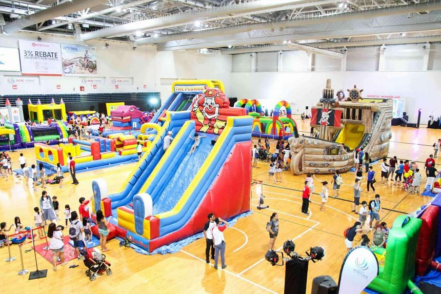 Among the highlights at the Sports Hub Community Play Day from June 17-18 is the inflatables playground at OCBC Arena Hall 1 with more than 20 activity stations available.